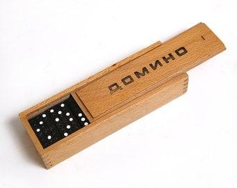 Vintage dominos game set, wooden domino set, antique toy game