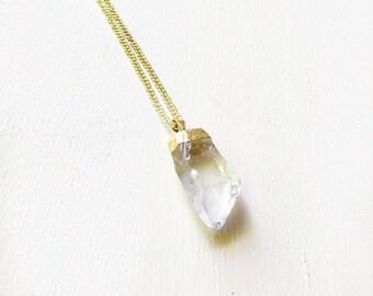 Gold Crystal Quartz Pendant Necklace