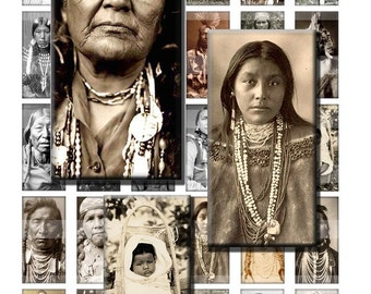 Native American Indians Tribes California Digital Images Collage Sheet 1x2 inch Rectangles Domino Commercial INSTANT Download RD58
