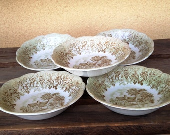 JG Meakin Bowls, Romantic England Suffolk 16th Century, Flatford Mill Round Serving Bowl Green and Brown English Ironstone, Set of Five