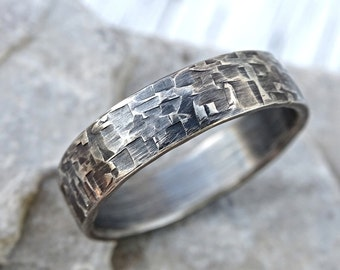 viking mens ring silver, industrial wedding band mens promise ring silver, forged silver band ring, cool mens ring unique structure