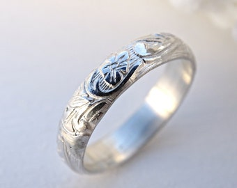 pagan wedding band, medieval wedding ring silver flower ring, eternity ring flower promise ring women, silver leaf ring, silver wedding band