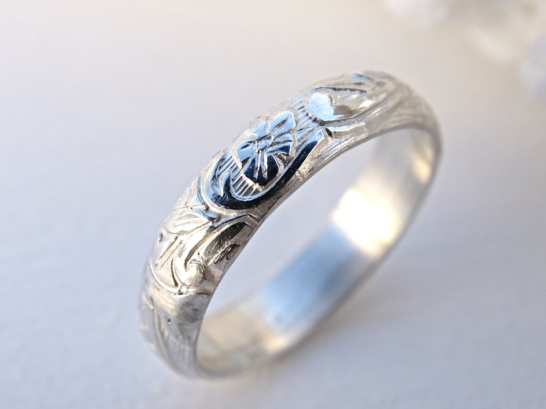 pagan wedding band wedding ring silver flower ring