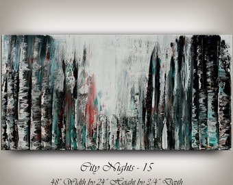Large Cityscape Black Painting, Original Abstract Painting, Modern Cityscape Painting, Modern Art, Contemporary Art, Office Decor, Nandita