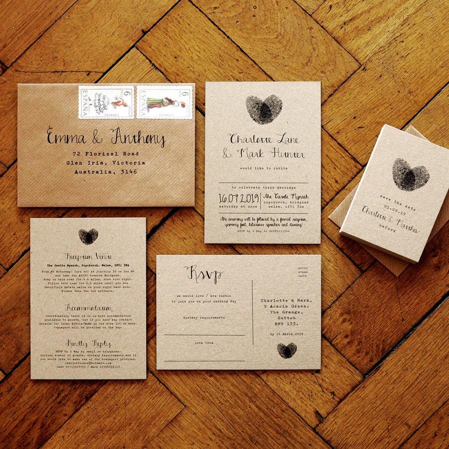 Fingerprint Calligraphy Wedding Invitation Set Or Save The