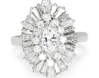 Marquise Diamond Ballerina Ring Pendant Combo Ringdant in Platinum & 14K Gold 2.00ctw