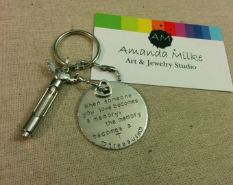 Keychain Memorial Time Capsule with wings and butterfly heart for ashes or lock of hair tube with hand stamped tag treasured memories