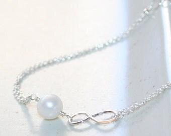 Infinity and Pearl Bracelet, Mother & Daughter Bracelet, Sterling Silver, Genuine Freshwater Pearls, June Birthstone, Bridesmaid Bracelet