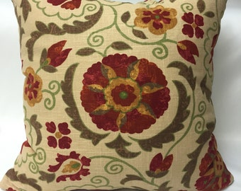 Rust, Gold and Green Jacobean Print Pillow Cover