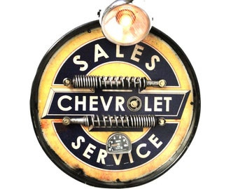 Chevrolet automotive company Motorcycle headlight antique style wall Chevy sign