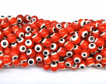 Evil Eye Beads Beads, Red Beads,8mm Evil Eye 1 Strand, Round Beads, Glass Beads, Red Evil eye bead, Protection, Amulet, Wholesale Beads