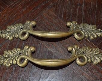 Vintage French Pair of Large Brass Handles Pulls Hardware Ornate Acanthus Leaf Design