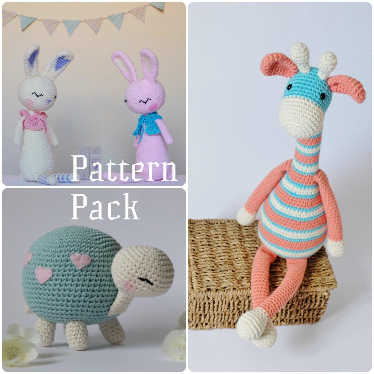 Amigurumi Toys Pattern : Crochet Amigurumi Toy PATTERN Pack Special Offer Giraffe