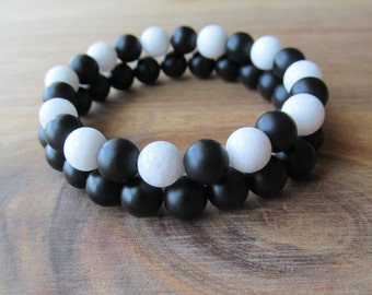 Bracelet Set White Jade and Matte Black Onyx, Stacking Bracelets, Men's Bracelet, Mala Bracelet, Layering Bracelet, Beaded Bracelets