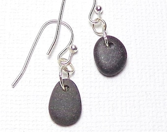 Oregon Coast Beach Pebble Earrings  Drilled Beach Stones