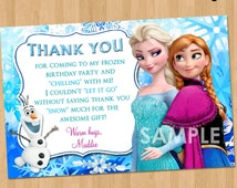 Frozen Thank You Card, PRINTABLE Frozen Thank You Note matches Invitation, Frozen Theme Party, Frozen Birthday Party, Elsa Anna Olaf DIY