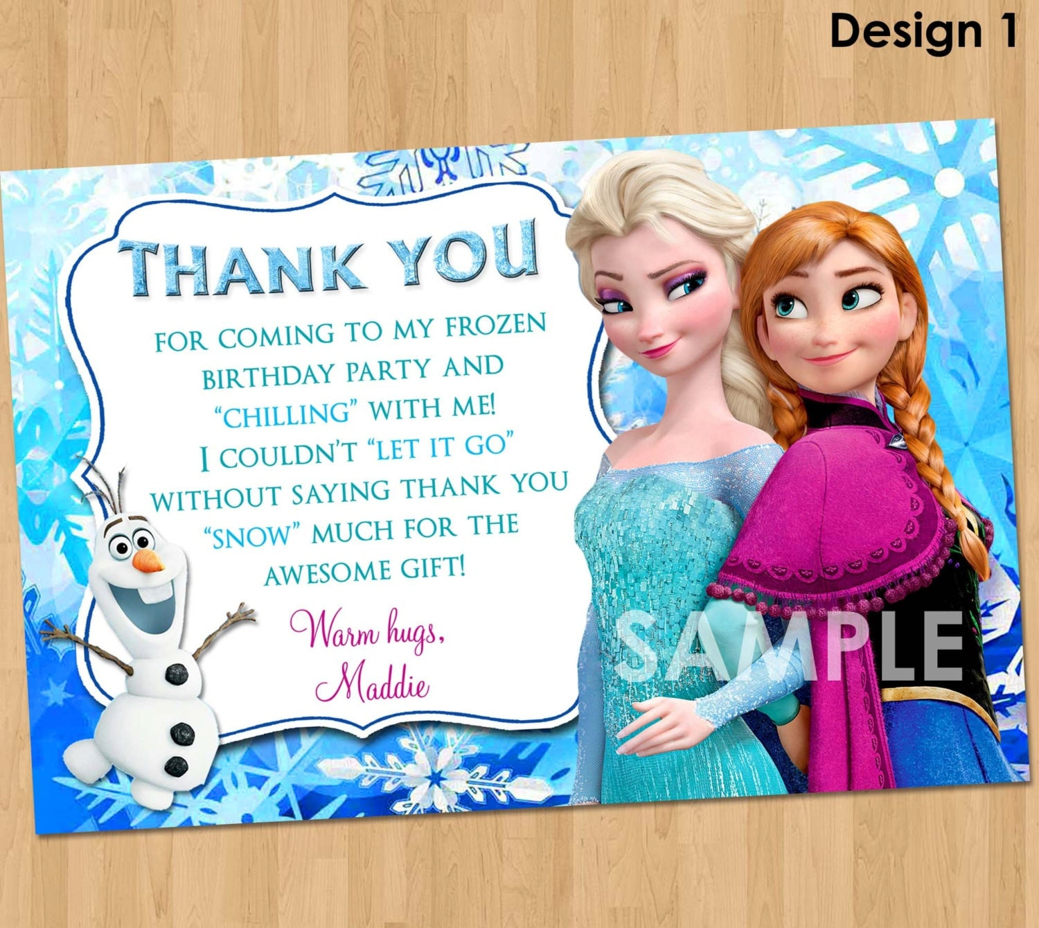 Frozen thank you – Thanks for Birthday Card