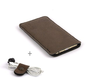 Huawei P10 case. Brown leather Black wool felt lining Huawei P9 leather sleeve. Leather pouch Huawei P9, also available for Huawei P10 Plus
