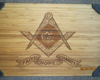 Masonic emblem cutting board, Personalized cutting board, Hand crafted gift, Wood carved cutting board, Monogrammed gift, Cutting Board