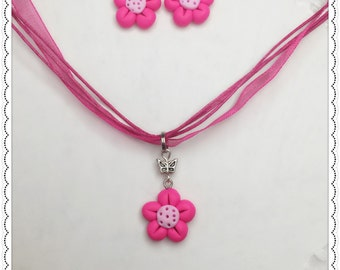 SALE! set of Neon Pink necklace+earrings, bright pink set, flower set, gift for her, party favor, miniature earrings