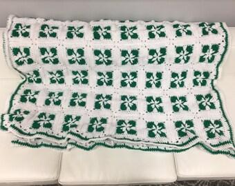 Crochet Irish Four Leaf Clover Blanket
