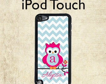 iPod 6 Case - Monogram iPod Case - Chevron Owl - iPod Touch 5 Case - Personalized iPod Touch Case