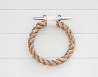 ROPE TOWEL RING holder handmade natural rope for bathroom, kitchen, boat or outdoors undercover.
