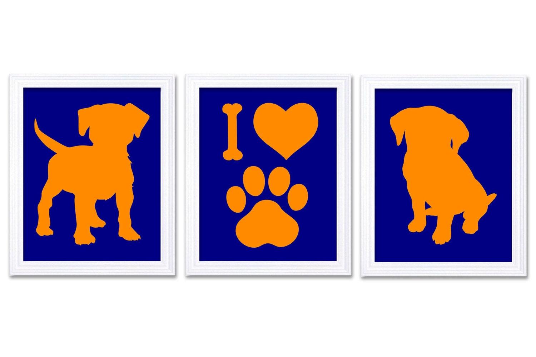 Puppy Dog Nursery Art Puppy Prints Set of 3 Prints Orange Coral Navy Blue Baby Wall Decor I Love Dog