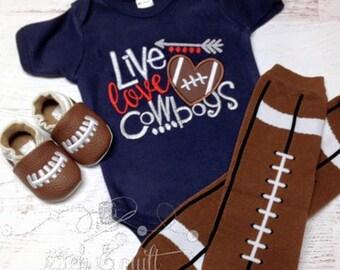 Football outfit, Boy Football, Football Team outfit, Live Love Football, Newborn Football Outfit, Infant Football Outfit, Football bodysuit,