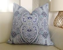 Cushions Paisley Pizzazz Boho Cushions Blue Pillows Designer Cushions Luxe Pillows Sophisticated Decor