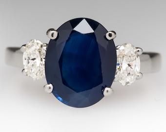 3.5 Carat No Heat Oval Blue Sapphire & Diamond Three Stone Engagement Ring 18K White Gold WM10802