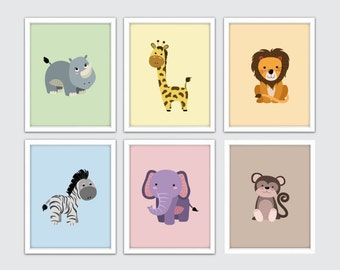 Baby Nursery Jungle Wall Art, Baby Room Jungle Wall Art, Jungle Animal Nursery Art, Jungle Themed Art For Nursery, Jungle Nursery Wall Art