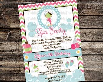 Spa Birthday Party Invitation, Custom 5x7 or 4x6 Digital Printable File