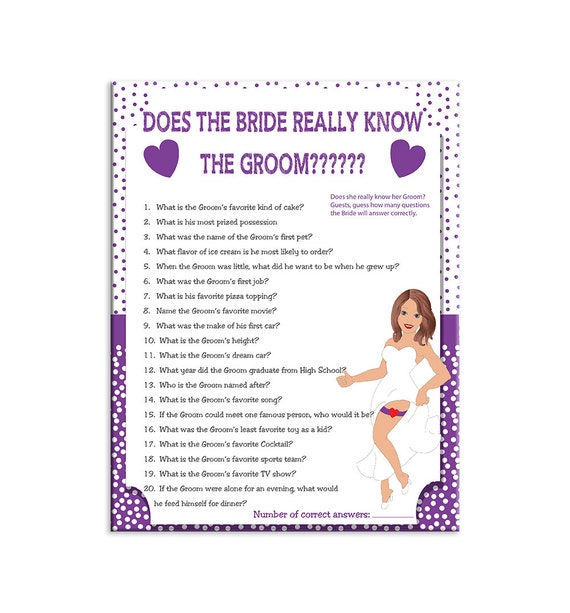 Bridal Shower Game How Well Does The Bride Know By