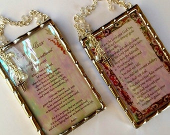 Ten Commandments and Prayer for Peace prayers set of two plaques soldered in iridescent water glass with crystal cubes and crosses