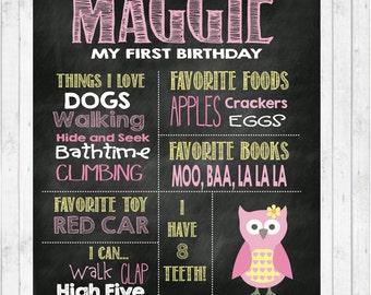 Girl Milestone Birthday Chalkboard Print