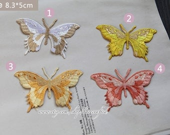 4 Colorful Butterfly Embroidery Appliques Cotton Applique, Butterfly Patch, Iron on Applique