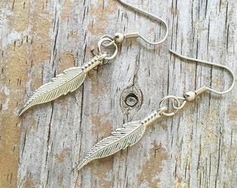 Feather Earrings/ Silver Feather Earrings/ Tribal Feather Earrings/ Boho Feather Earrings/ Southwest Feather Earrings/ Southwest Jewelry