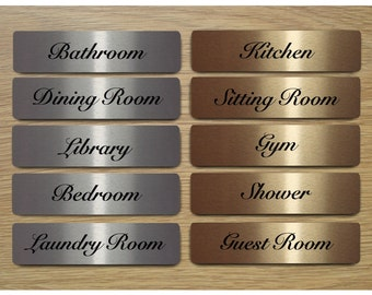 ELEGANT ROOM SIGNS Door Plaques In Brushed Silver Gold Or White Metal For The Bathroom