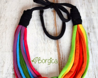 Under the rainbow knot - upcycled rainbow necklace, fiber jewelry, eco friendly necklace, colorful jersey stripes