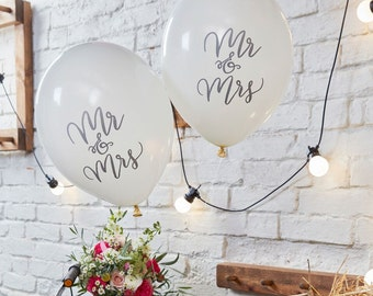Mr & Mrs Balloons, 10 Pack, Wedding Balloons, Mr and Mrs Wedding Balloons, White Wedding Decorations, Mr and Mrs Decorations, Bride, Groom