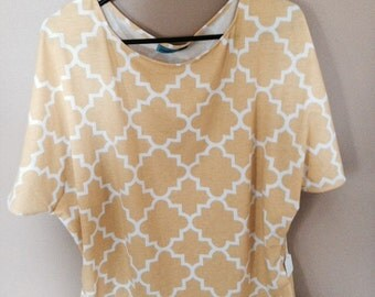 Gold and White Flutter Sleeve Top