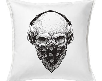 Skull Tunes  Feather Throw Pillow