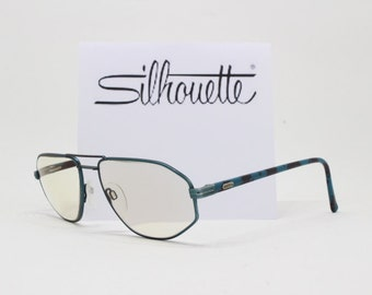 80s vintage aviator. Original spectacle frames by Silhouette. Prescription eyeglasses. Teardrop optical glasses, eyewear. Made in Austria.