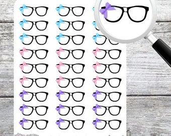 Nerdy Glasses with Bow Planner Stickers