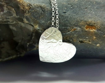 Sterling Silver 925 Textured Heart Pendant by Silverbird Designs