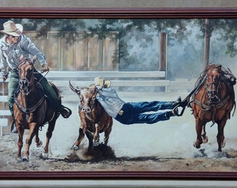 "Sandy Rusinko ""Cowboys Roping a Bull"" Western Painting on Canvas"