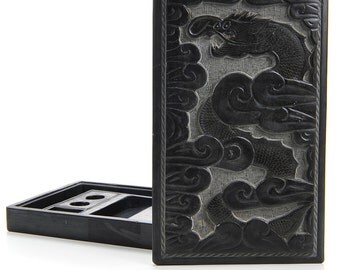 Chinese Antique Ink stone  with Carved Dragon Figure