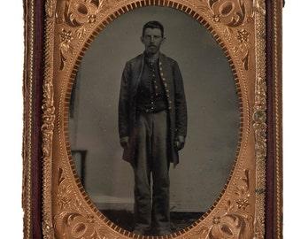 Civil War Identified Soldier -Original 1864 Tin Type
