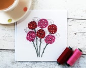Printed Lollipop Roses Square Card Blank Inside